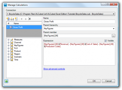 Custom calculations dialog with the Gross Profit member