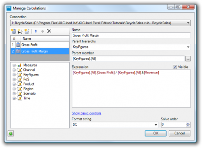 Custom calculations dialog with the Gross Profit Margin member
